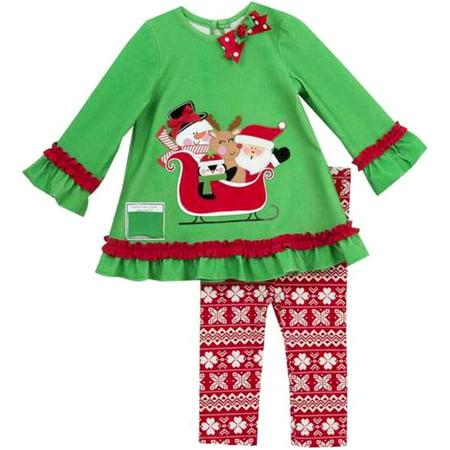 Rare Editions Little Girls Christmas Santa Sleigh Legging Set 2T](Girl In Santa Suit)