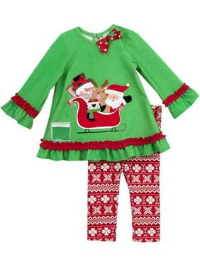 8c422bbd4052c Product Image Rare Editions Little Girls Christmas Santa Sleigh Legging Set  2T