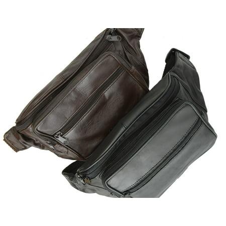 - Genuine Leather Waist Fanny Pack Belt Bag Pouch Travel Hip Purse Men Women 005 (C) Black