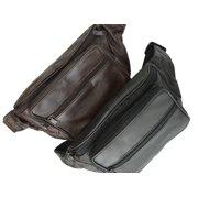 Genuine Leather Waist Fanny Pack Belt Bag Pouch Travel Hip Purse Men Women 005 (C) Black