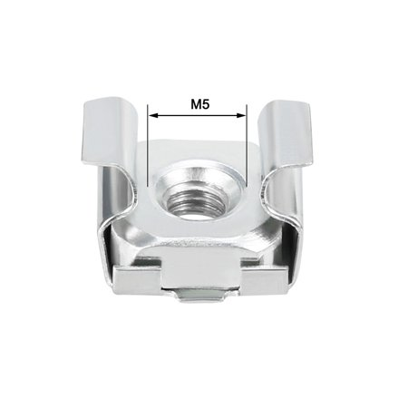 Unique Bargains 55pcs Carbon Steel Zinc Plated M5 Cage Nut for Server Shelf Cabinet - image 2 de 4