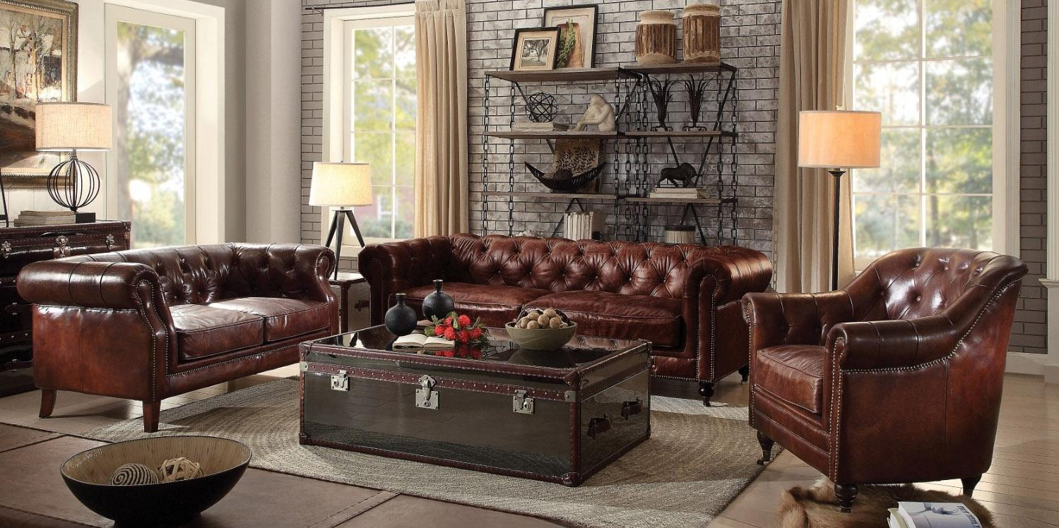 vintage dark brown leather tufted sofa set 3pcs acme furniture 53625 rh walmart com savile dark saddle brown leather tufted sofa brown leather tufted couches