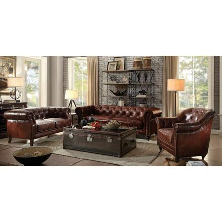 Vintage Dark Brown Leather Tufted Sofa Set 3Pcs Acme ...