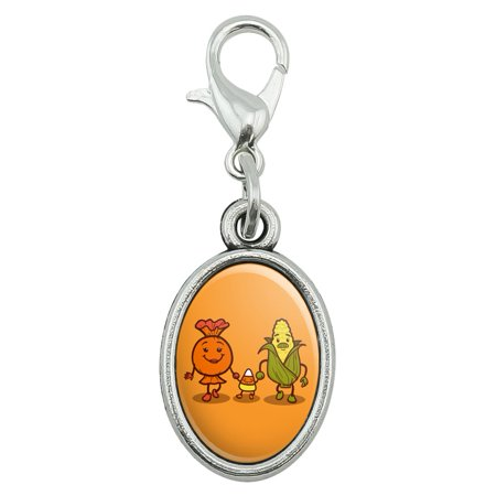 Halloween Candy Bracket (Candy Corn Family Halloween Antiqued Bracelet Pendant Zipper Pull Oval Charm with Lobster)