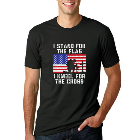 I Stand for The Flag I Kneel For the Cross | Mens Americana / American Pride Graphic T-Shirt, Black,