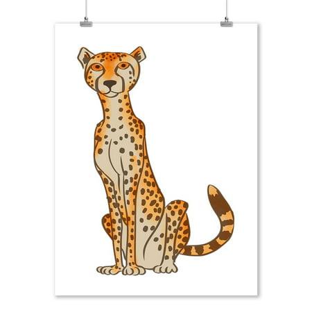 Carbon Lantern - Cheetah - Soft Cartoon - Lantern Press Artwork (9x12 Art Print, Wall Decor Travel Poster)