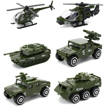 - Moaere  6 Pack Assorted  Army Vehicle Models Car Toys Original Color Mini Army Toy Tank Panzer Anti-Air Vehicle Helicopter Playset for Kids Toddlers Boys