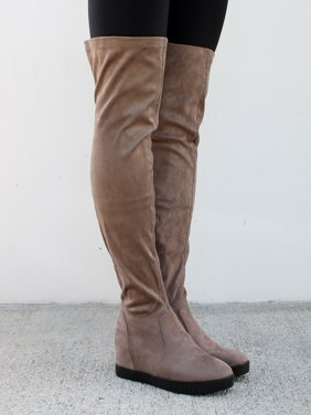 Nature Breeze Over the Knee Women's Wedge Boots in Taupe