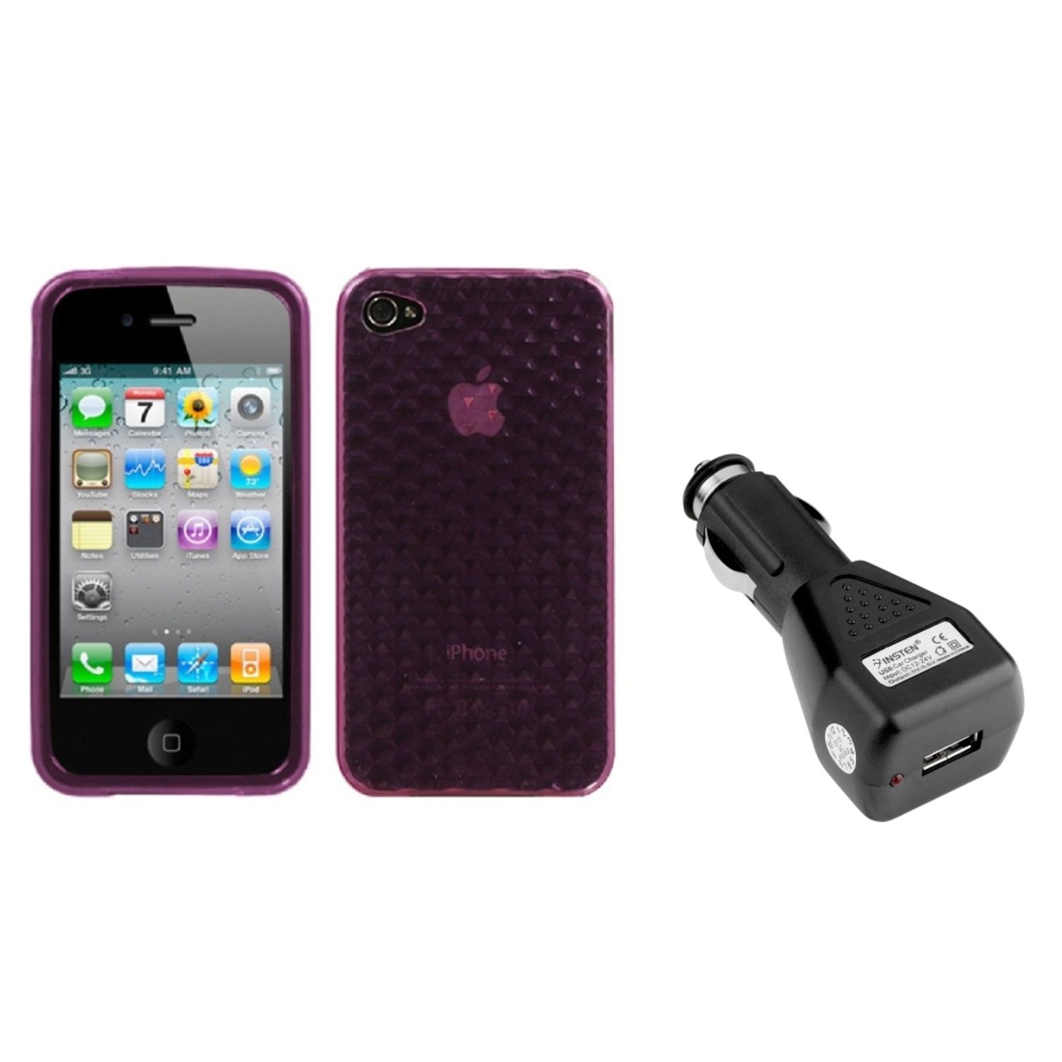 Insten Purple Cube Candy Case Cover For iPhone 4 4S + USB Car Charger Adapter
