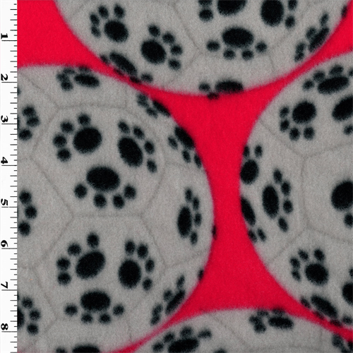 Red/Grey/Black Paw Print Soccer Ball Fleece, Fabric By the Yard