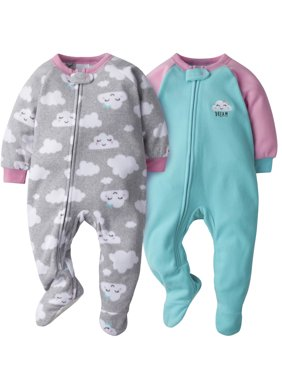 Gerber Baby Girl Microfleece Blanket Sleepers Pajamas, 2-Pack