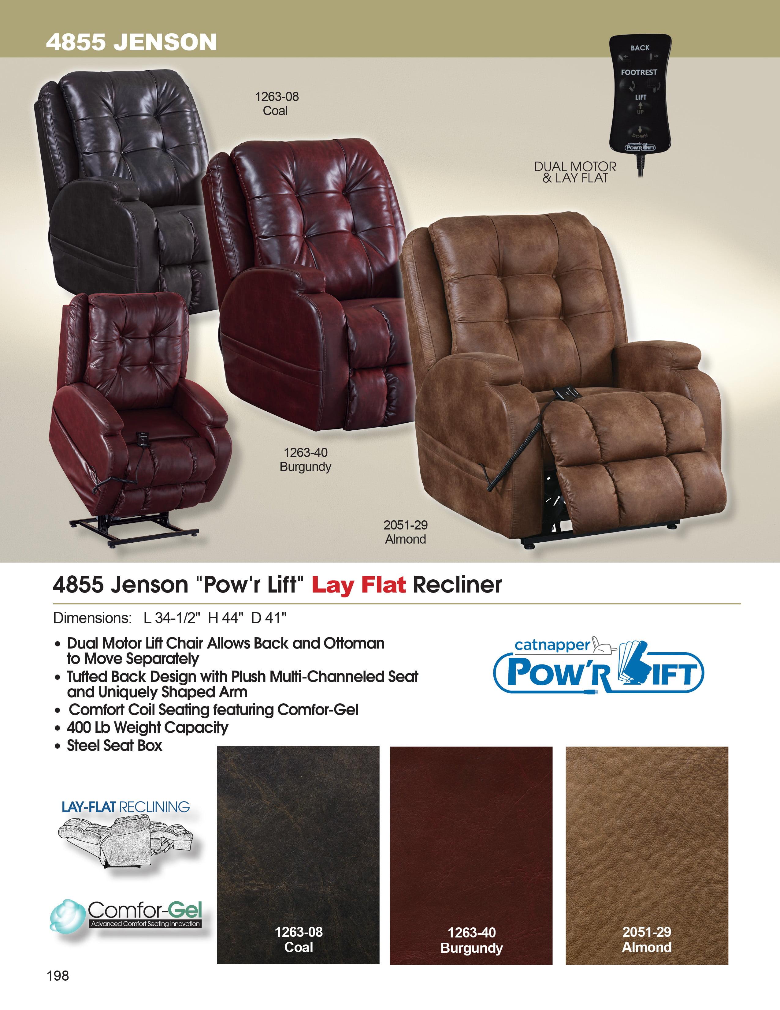 Catnapper Jenson 4855 Power Lift Chair & Recliner Burgundy