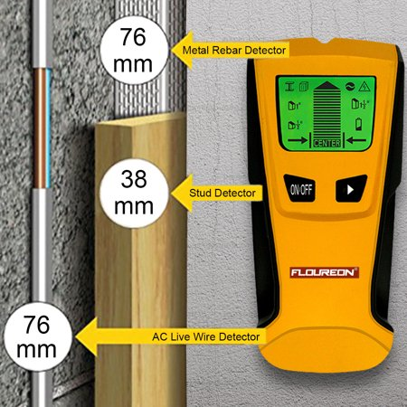 Metal Stud Finder - Floureon 3 in 1 LCD Digital Stud Center Scanner AC Live Wire Finder Wood Metal Wall Detector Tool