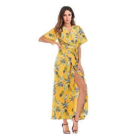 Bohemian Maxi Long Dress for Women Short Sleeve V-Neck Chiffon Pineapple Pattern Dress, Yellow](Chiffon Bohemian Dress)