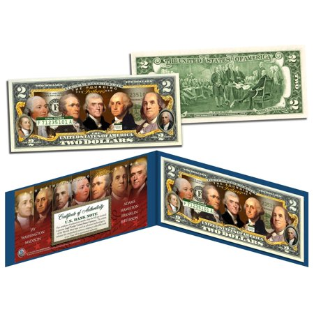 FOUNDING FATHERS OF THE UNITED STATES Colorized Obverse $2 Bill US Legal (Toned Obverse)