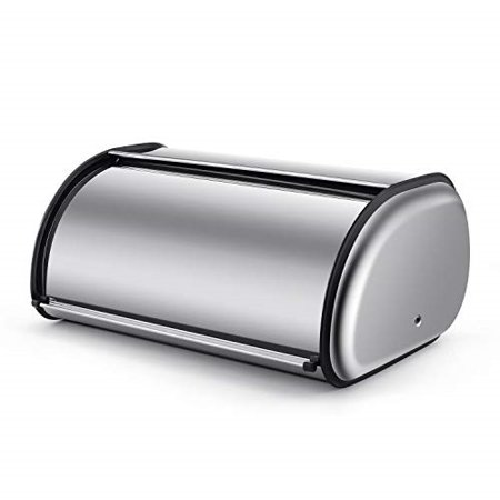 Stainless Steel Bread Box Holder (13 inch) Metal Roll Up Top Lid Bread Container Storage Bin Keeper for Homemade Cake Buns Loaves Pastries Pancakes Cookies, Ideal for Restaurants Home Kitchen