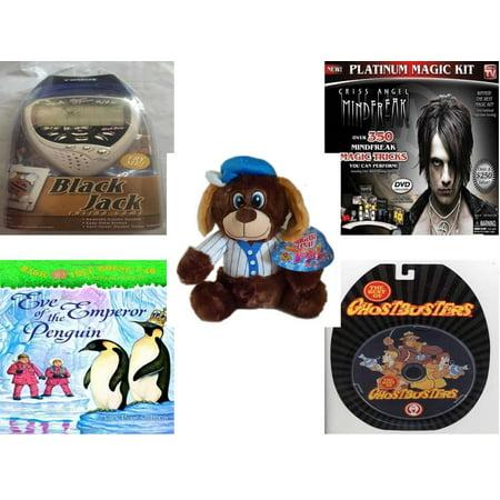 Children's Gift Bundle [5 Piece] -  Black Jack Casino Handheld  - Criss Angel Platinum Magic Kit  - Sugarloaf s Baseball Dog  11