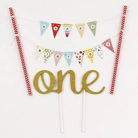 One 1ST Happy Birthday Cake Bunting Banner Small Pink Pennant Flags And GoldenOne Topper