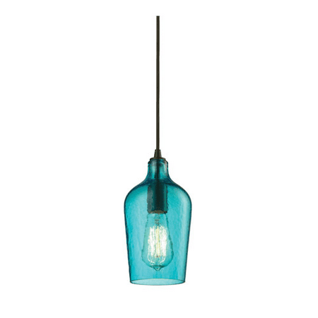 Pendants 1 Light With Oil Rubbed Bronze Finish Hammered Aqua Glass Medium Base 5 inch 60 Watts - World of Lamp