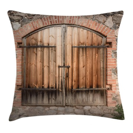Rustic Throw Pillow Cushion Cover, Wooden Door of a Stone House with Wrought Iron Elements Tuscany Architecture Photo, Decorative Square Accent Pillow Case, 18 X 18 Inches, Brown Grey, by Ambesonne ()