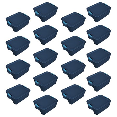 Sterilite 12 Gallon Latch and Carry Storage Tote, True Blue | 14447406 (18 Pack) (12 Gallon Tower)