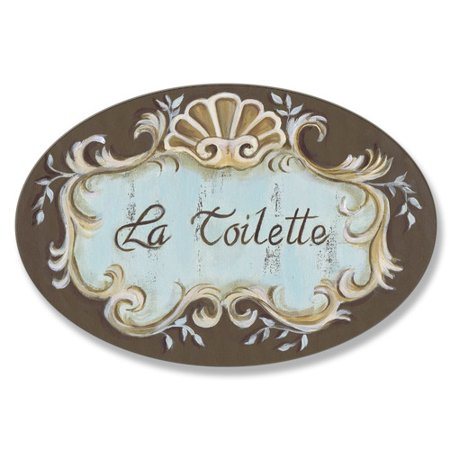 stupell industries la toilette crest top oval bathroom wall plaque. Black Bedroom Furniture Sets. Home Design Ideas