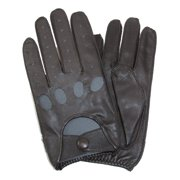 Size Medium Mens Classic Leather Unlined Driving Gloves, Black