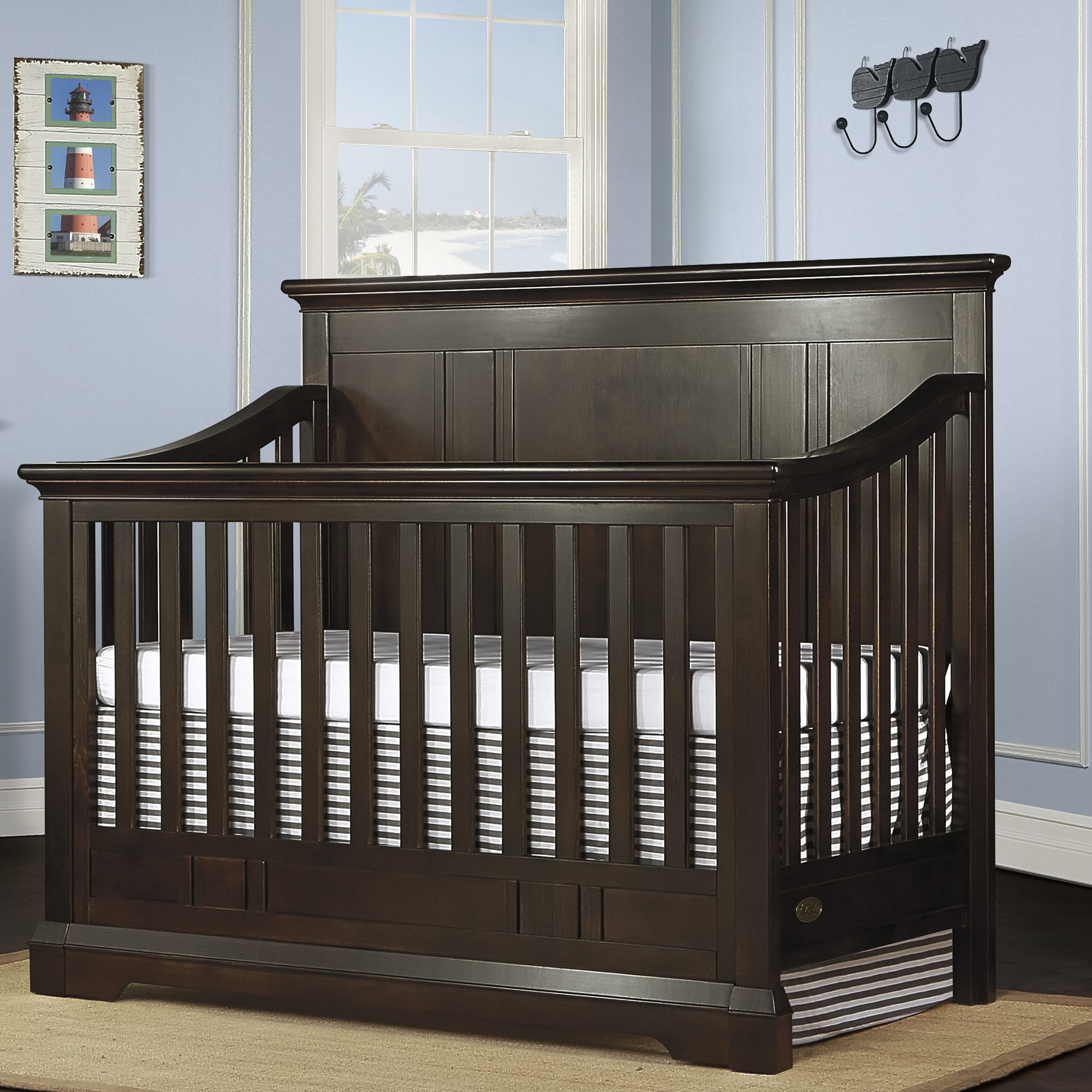 Evolur Parker 5-in-1 Convertible Crib, White and Navy by Evolur