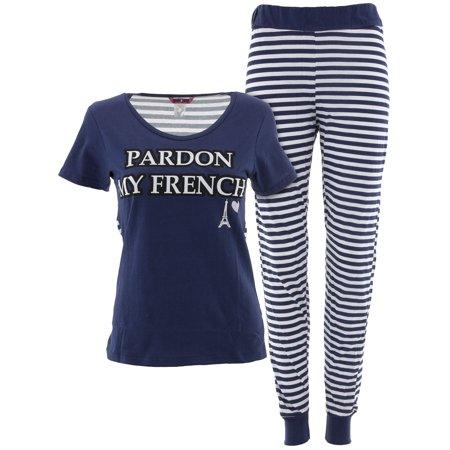 b852c34aaa0 Glam Jamz - Glam Jamz Juniors Pardon My French Navy Cotton Pajamas -  Walmart.com