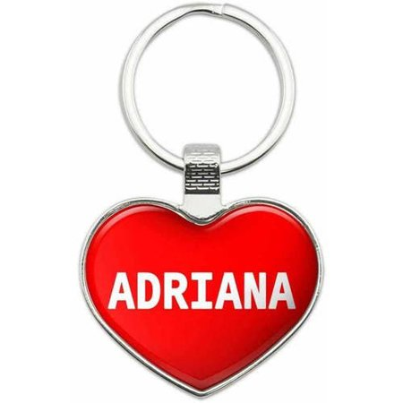 Adriana - Names Female Metal Heart Keychain Key Chain Ring, Multiple Colors Available ()