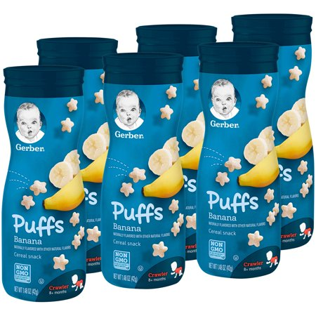 Gerber Puffs Banana, 1.48 oz. Canister (Pack of (Natural Puff)
