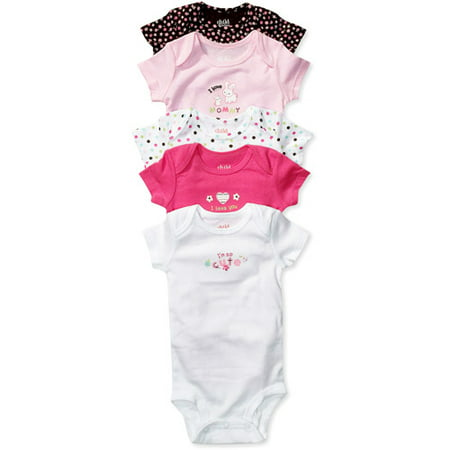 Child of Mine by Carters - Newborn Girls' Bodysuit 5-Pack, Assorted Colors
