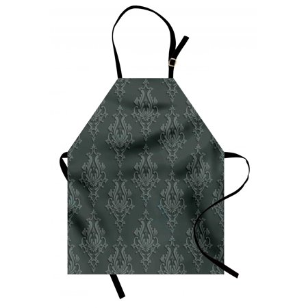 Dark Grey Apron Antique Damask Pattern in 3D Style Classic Old Fashioned Floral Design, Unisex Kitchen Bib Apron with Adjustable Neck for Cooking Baking Gardening, Charcoal Grey Dimgrey, by Ambesonne