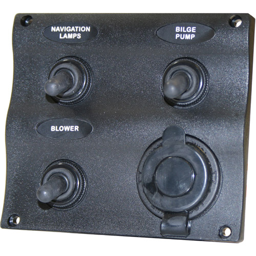 SeaSense 3 Gang Toggle Switch Panel with 12-Volt Outlet, Wave Design