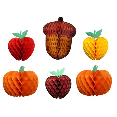 Devra Party 6-Piece Fall Thanksgiving Honeycomb Fruit Party Decoration Kit