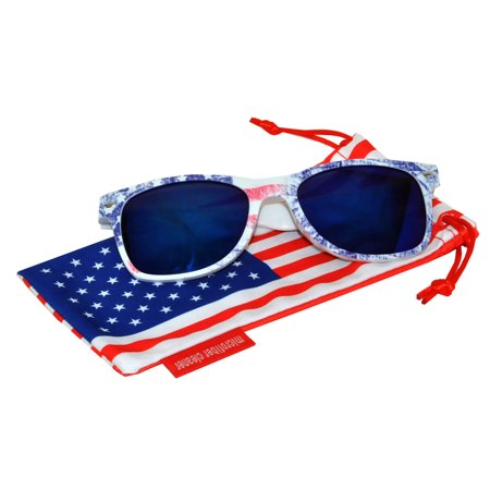 5cfedc7738b OWL - Classic American Patriot Sunglasses USA Faded American Flag Frame  Blue Mirror Lens OWL with American Flag Pouch - Walmart.com
