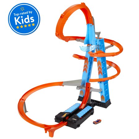 Hot Wheels Sky Crash Tower Track Set, 2.5+ Ft / 83 Cm High, Motorized Booster & 1 Car