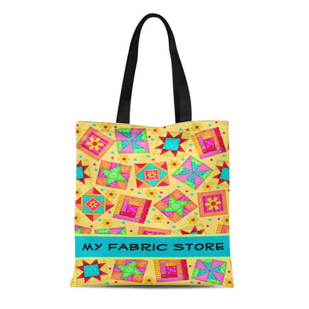 ASHLEIGH Canvas Tote Bag Orange Turquoise Patchwork Yellow Quilt Promotion Red Monogram Name Reusable Handbag Shoulder Grocery Shopping Bags - Halloween Promotion Names