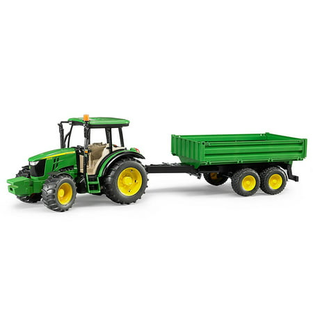 Bruder Toys John Deere 5115 M with Tipping Trailer Agriculture Vehicle Model ()