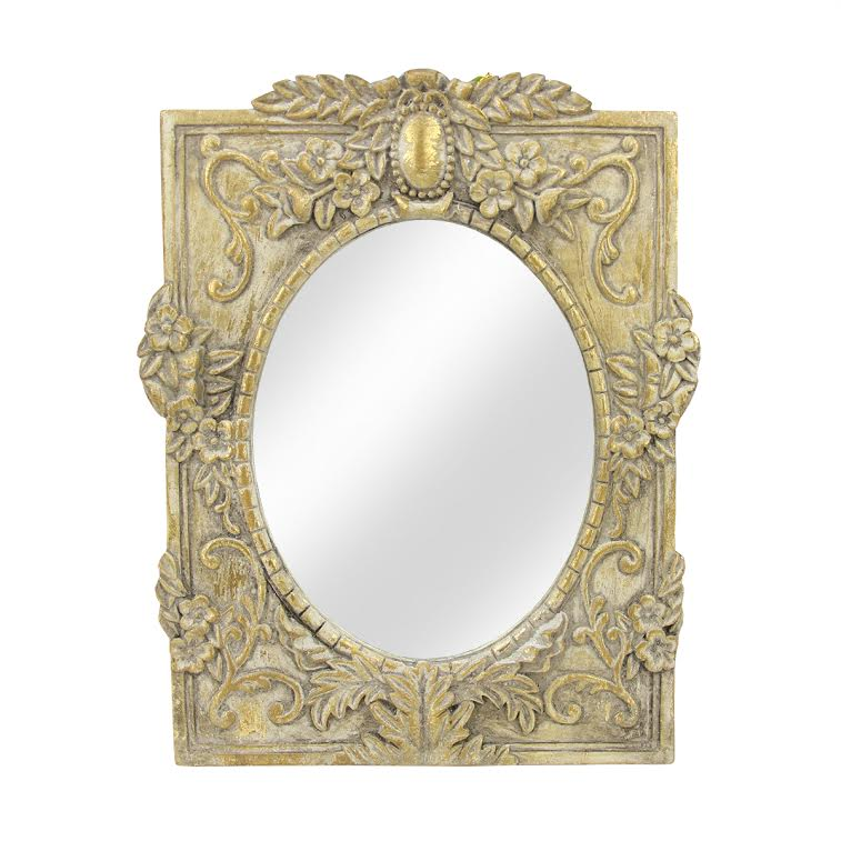 """City Chic Decorative Oval Antique Style Gold Wall Mirror with Floral Accented Rectangular Frame 11"""""""
