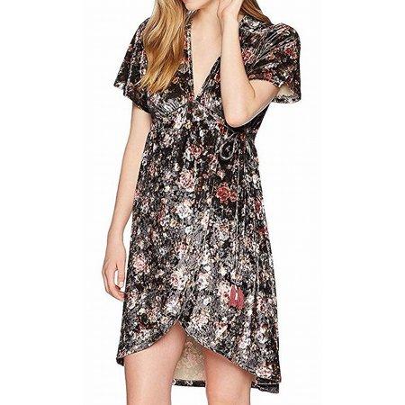 Print Surplice Dress - Angie NEW Black Womens Size Small S Floral Print Surplice A-Line Dress