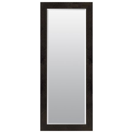 "Black and Bronze Woodgrain Framed Beveled Wall or Leaner Mirror 24""x70"" by Gallery Solutions"