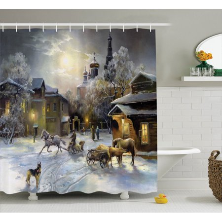 Country Decor Shower Curtain Set, Winter Landscape Of A Western Town At Night In New World Rurals In Retro Style Art Print Deco, Bathroom Accessories, 69W X 70L Inches, By Ambesonne for $<!---->