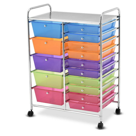 Gymax Rolling Storage Cart 15 Drawers Organize Shelf Office School