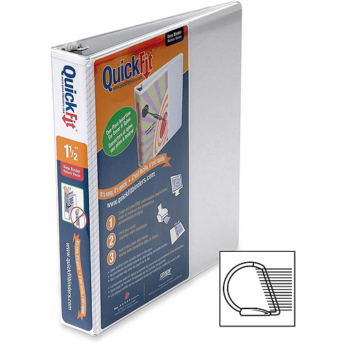 """(2 Pack) Stride QuickFit D-Ring View Binder, 1 1/2"""" Capacity, 8 1/2 x 11, White -STW87020"""