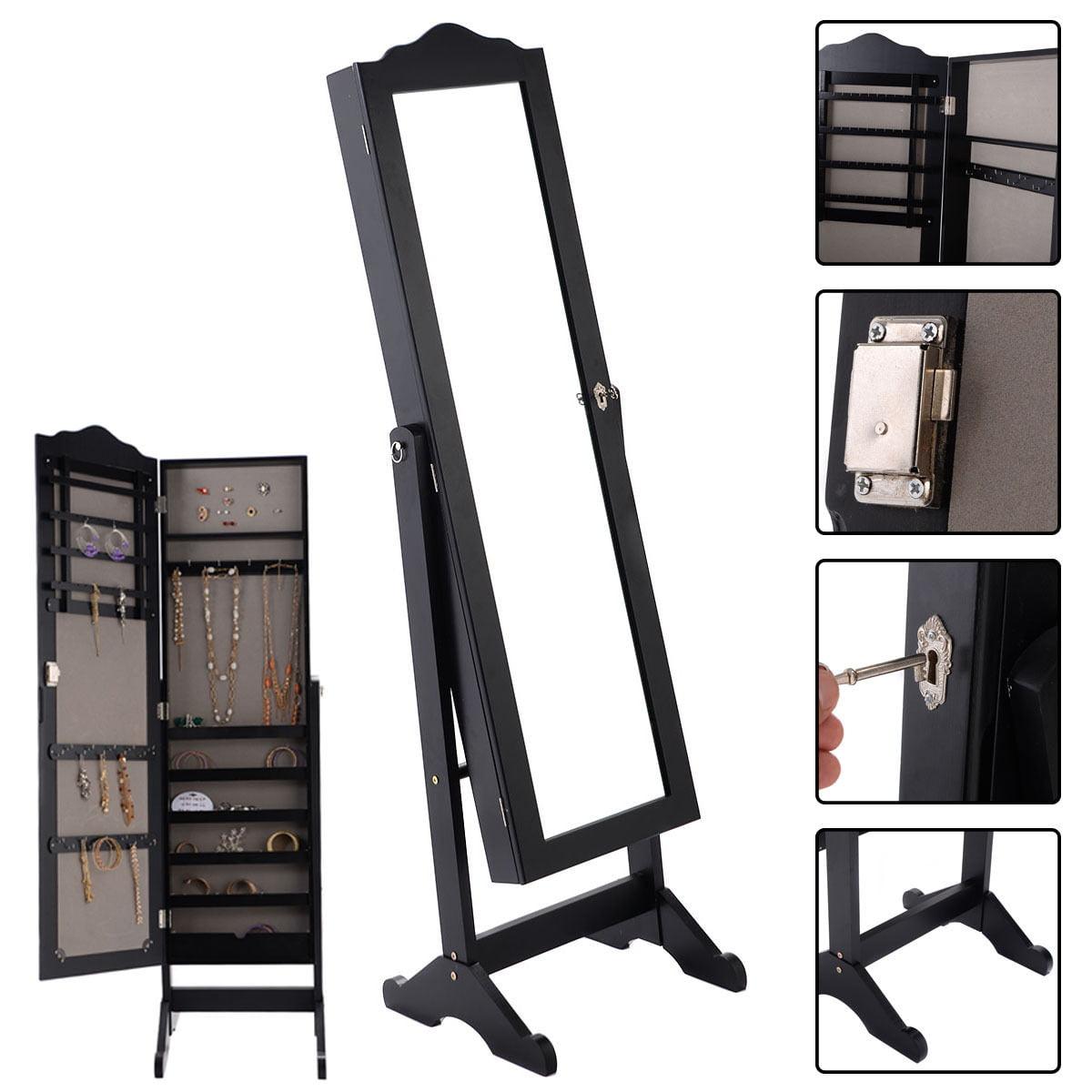 Costway Lockable Mirrored Jewelry Cabinet Armoire Mirror Organizer