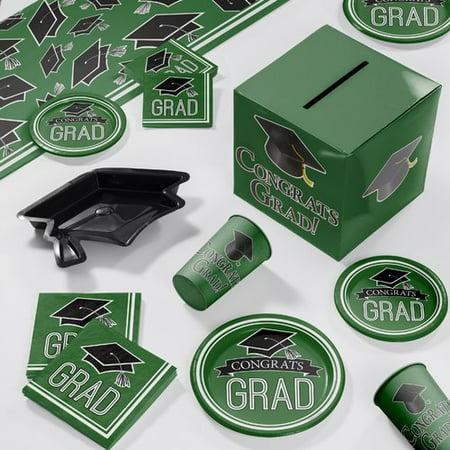 Graduation School Spirit Green Deluxe Party Supplies Kit