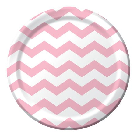 Party Creations Chevron & Polka Dots Dinner Plate, Classic Pink, 9