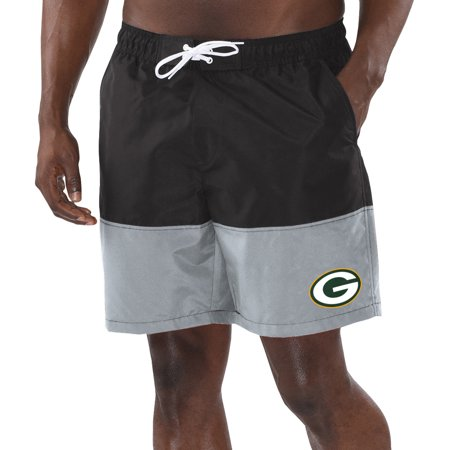 Green Bay Packers G-III Sports by Carl Banks Anchor Volley Swim Trunks - Black/Gray