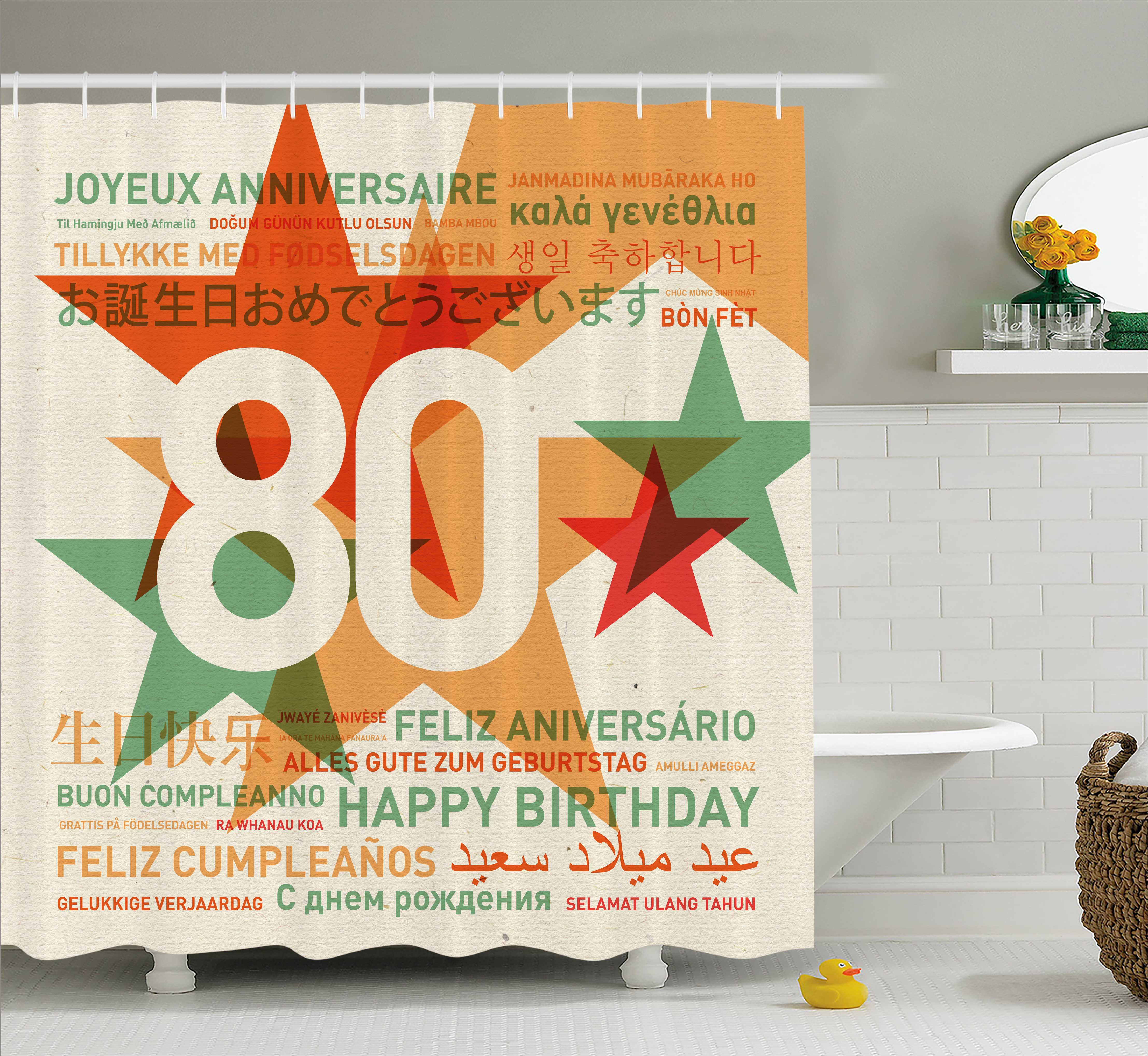 80th Birthday Decorations Shower Curtain 80 Years Party With Universal Happy Wish Fabric Bathroom Set Hooks 69W X 70L Inches Green